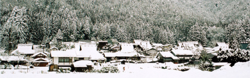 雪の茅葺き集落。